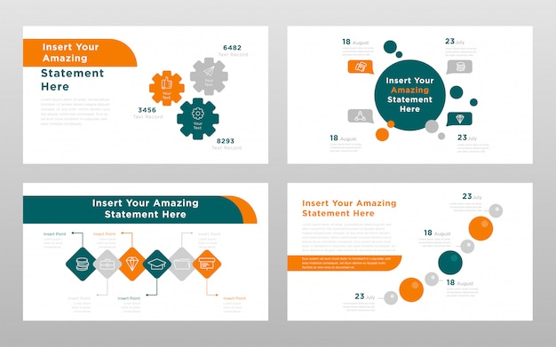 Modèle de pages de présentation de points de présentation power point couleur verte business orange concept