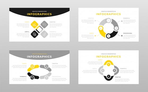 Modèle de pages de présentation de points de présentation de puissance gris jaune et jaune business infographie concept
