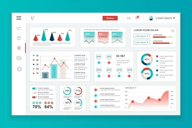 Modèle de panneau d'administration de tableau de bord avec des éléments infographiques