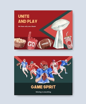 Modèle de panneau d'affichage avec la conception de concept de sport de super bol pour la publicité et la commercialisation d'illustration vectorielle aquarelle.