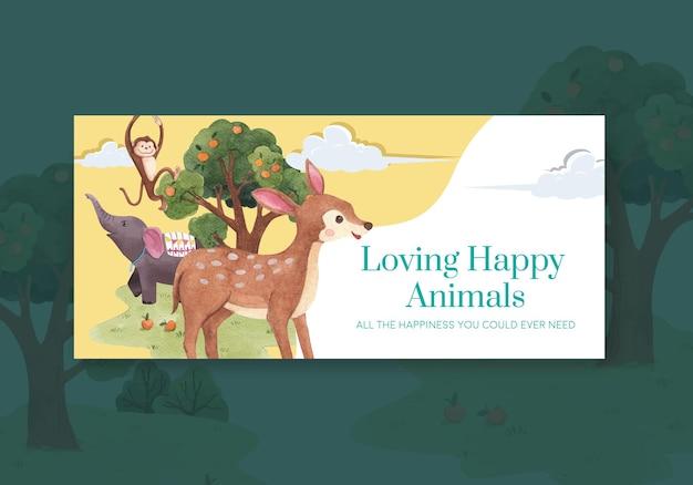 Modèle de panneau d'affichage avec illustration aquarelle de concept animaux heureux