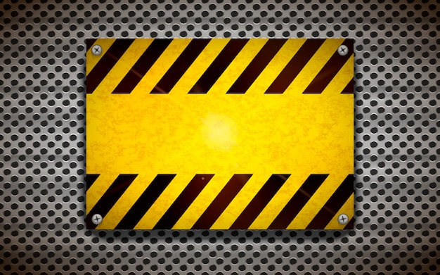 Modèle de panneau d'avertissement blanc jaune sur grille métallique, arrière-plan industriel