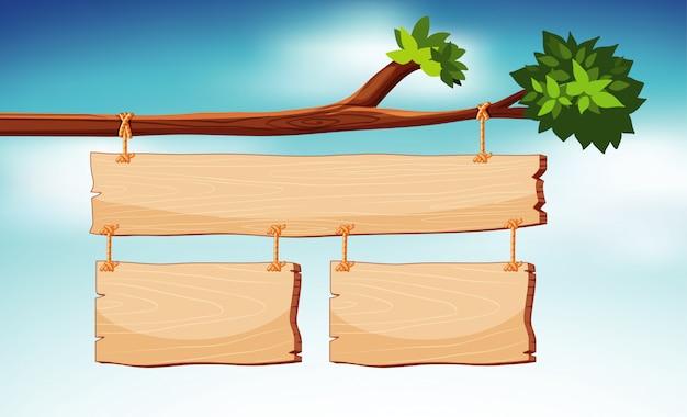 Modèle de panneau en bois avec ciel en arrière-plan