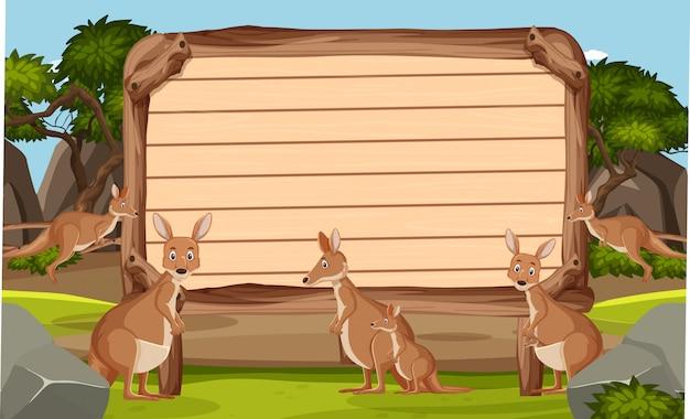 Modèle de panneau en bois avec des kangourous dans le parc