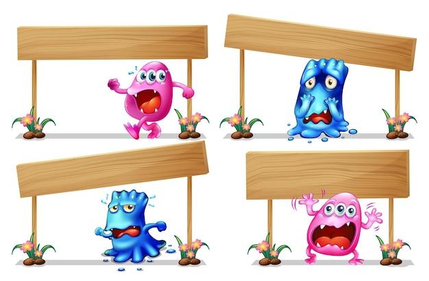 Modèle de panneau en bois avec des monstres