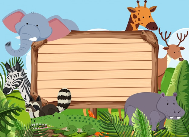 Modèle de panneau en bois avec de nombreux animaux dans le parc