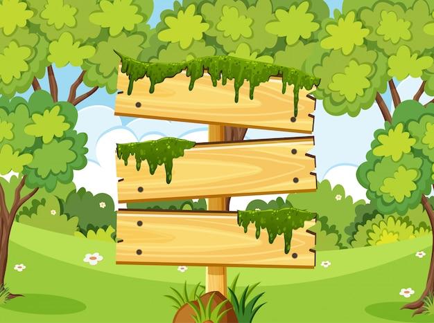 Modèle de panneau en bois avec de nombreux arbres dans le parc