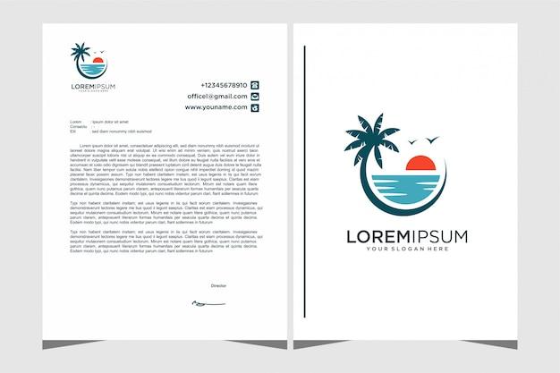 Modèle de papeterie de conception de logo de plage
