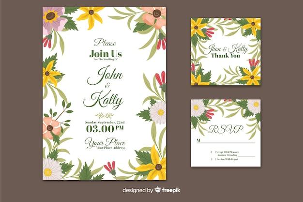 Modèle de papeterie invitation mariage plat