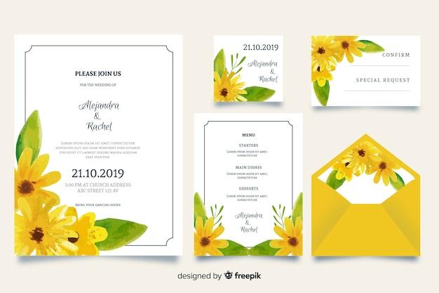 Modèle de papeterie de mariage aquarelle jaune