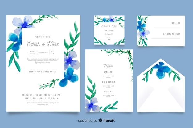 Modèle de papeterie de mariage bleu aquarelle