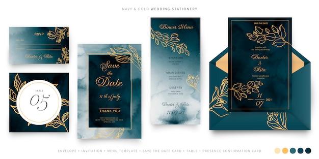 Modèle de papeterie de mariage bleu marine et or