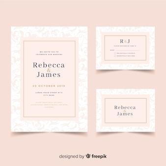Modèle de papeterie de mariage design plat