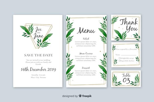 Modèle de papeterie de mariage sur design plat