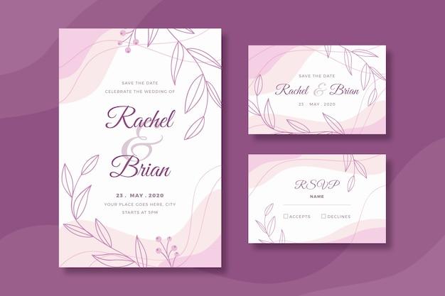 Modèle de papeterie de mariage avec des fleurs
