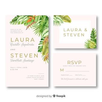 Modèle de papeterie de mariage floral aquarelle
