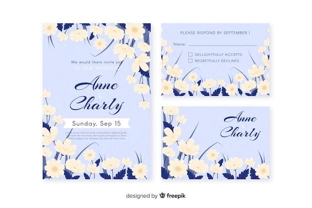 Modèle de papeterie de mariage floral dessiné à la main
