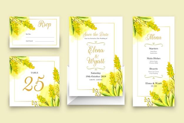 Modèle de papeterie de mariage floral