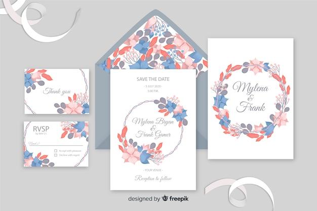 Modèle de papeterie de mariage magnifique au design plat