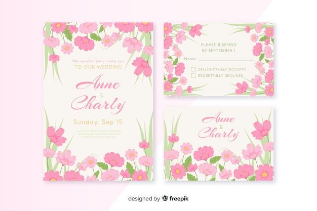 Modèle de papeterie de mariage plat floral