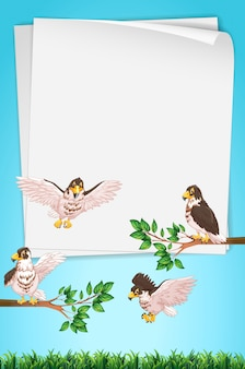 Modèle de papier avec des aigles en arrière-plan