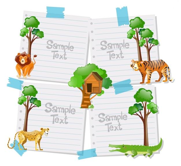 Modèle de papier avec des animaux en arrière plan