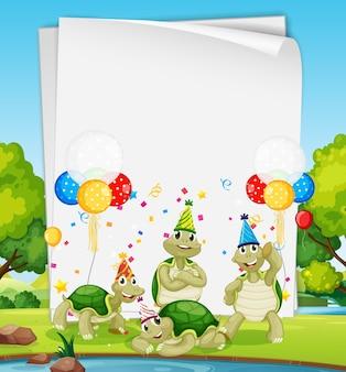 Modèle de papier avec des animaux mignons dans le thème de la fête sur la forêt