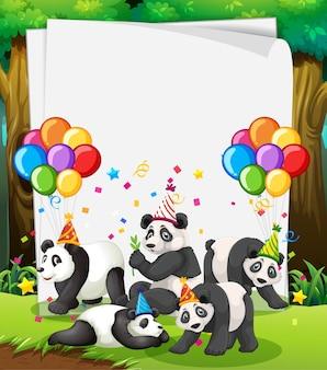 Modèle de papier avec des animaux mignons dans le thème de la fête