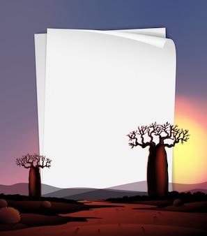 Modèle de papier avec arbres et rivière