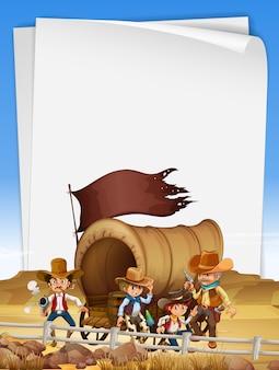 Modèle de papier avec des cow-boys sur le terrain