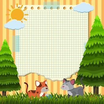Modèle de papier avec deux chats dans le parc