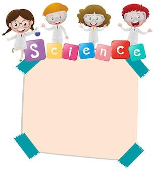 Modèle de papier avec les enfants et la science
