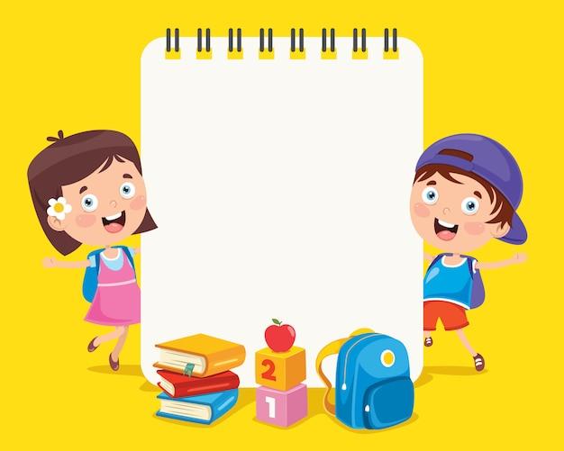 Modèle de papier avec des enfants