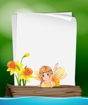 Modèle De Papier Avec Fée Sur Journal Vecteur Premium