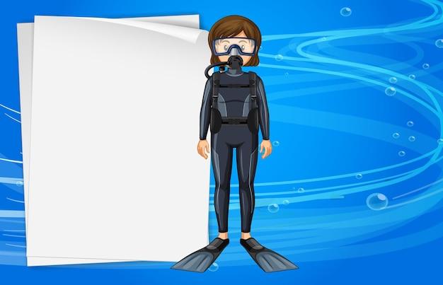 Modèle de papier avec une fille en tenue de plongée sous-marine