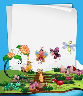 Modèle de papier avec des insectes dans le jardin