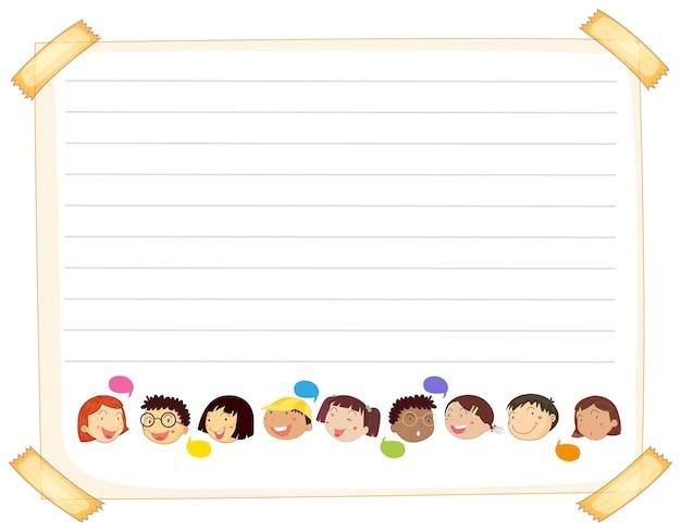 Modèle de papier de ligne avec des enfants heureux