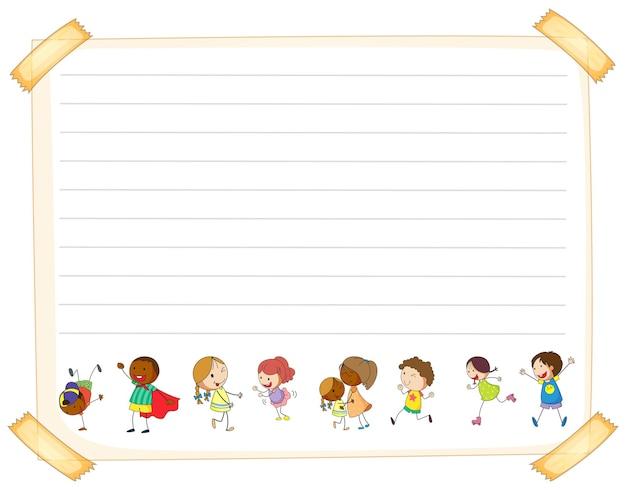 Modèle de papier de ligne avec des enfants