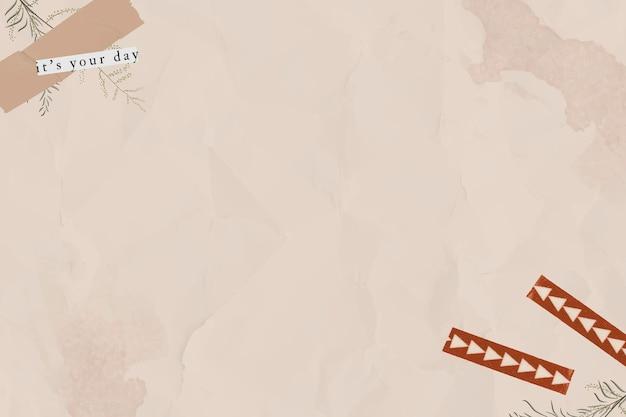 Modèle de papier marron froissé vierge avec vecteur de ruban washi