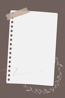 Modèle de papier de note florale