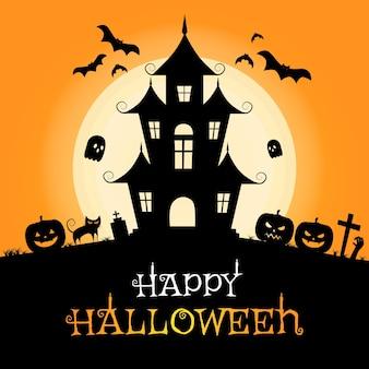 Modèle de papier peint effrayant halloween silhouette château