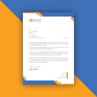 Modèle de papier à en-tête abstrait bleu et jaune
