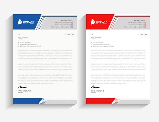 Modèle de papier à en-tête de abstrait bleu et rouge