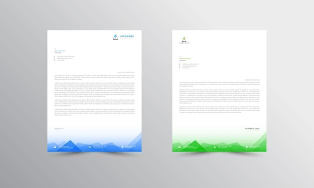 Modèle de papier à en-tête abstrait bleu et vert
