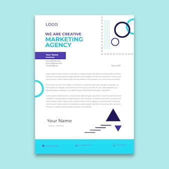 Modèle de papier à en-tête d'agence de marketing