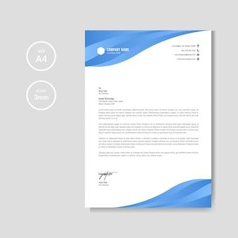 Modèle de papier à en-tête bleu créatif professionnel