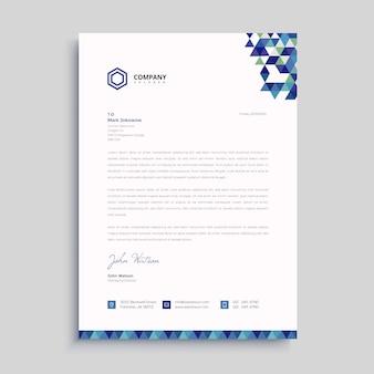 Modèle de papier à en-tête bleu créatif