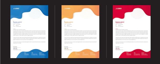 Modèle de papier à en-tête coloré avec une variation de trois couleurs