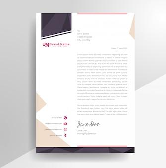 Modèle de papier à en-tête de conception de papier à en-tête minimaliste