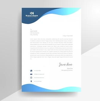 Modèle de papier à en-tête de conception de papier à en-tête ondulé d'entreprise